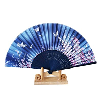 Vibola Chinese Wind Dance Fan Pattern Folding Dance Wedding Party Lace Silk Folding Hand Held Flower Fan (B): Arts, Crafts & Sewing [5Bkhe0401770]