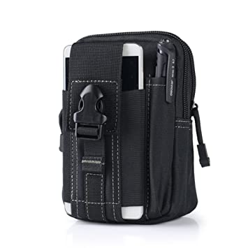 c0321551ade9 Outdoor Tactical Waist Belt Bag Camping Hiking Zip Pouch Wallet Phone Sport  Fanny Pack (Black)