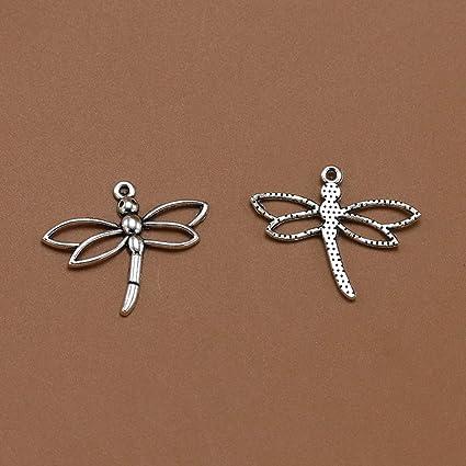 plata TENDYCOCO 20PCS Vintage Antique Charms Dragonfly Pendents Fabricaci/ón de joyas para collar pulsera