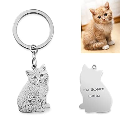 Handmade Dog Cat Photo Silhouette Keychain Custom Engraved Pet Key Ring for  Women Men Best Memorial 0cf88b45a