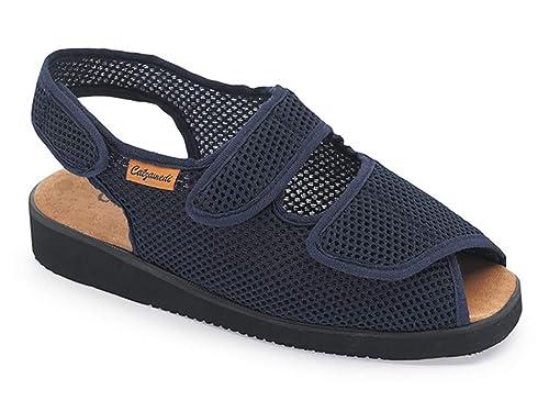 Zapatillas Mujer Linea Confort Marca CALZAMEDI, Horma Ancho 15, Altura 2cm, Tejido Confortable Color Azul Marino, Cierre Velcro Apertura Total y Piso Ligero ...