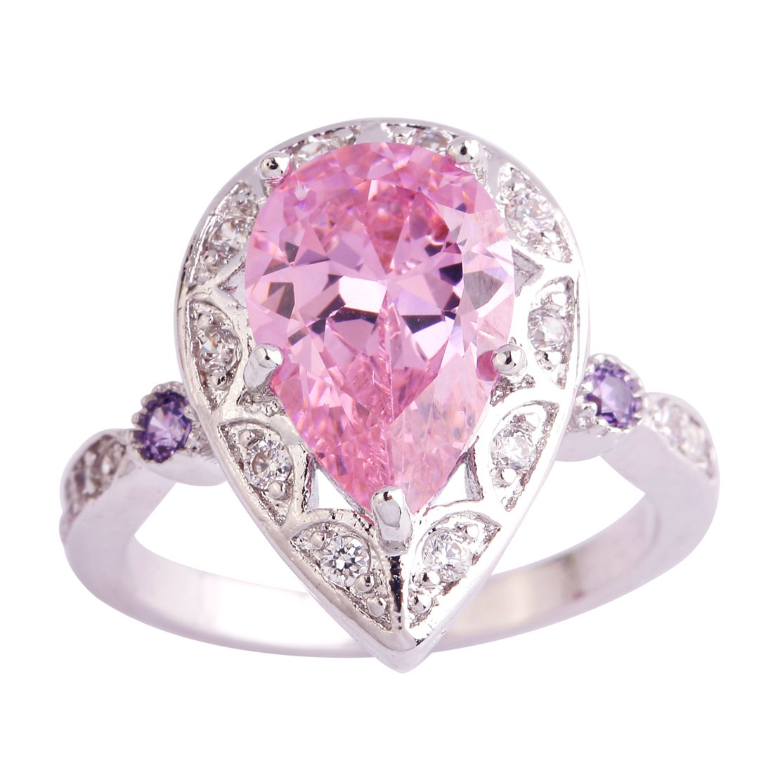 Amazon.com : Veunora 925 Sterling Silver Created Pear Cut Ruby ...