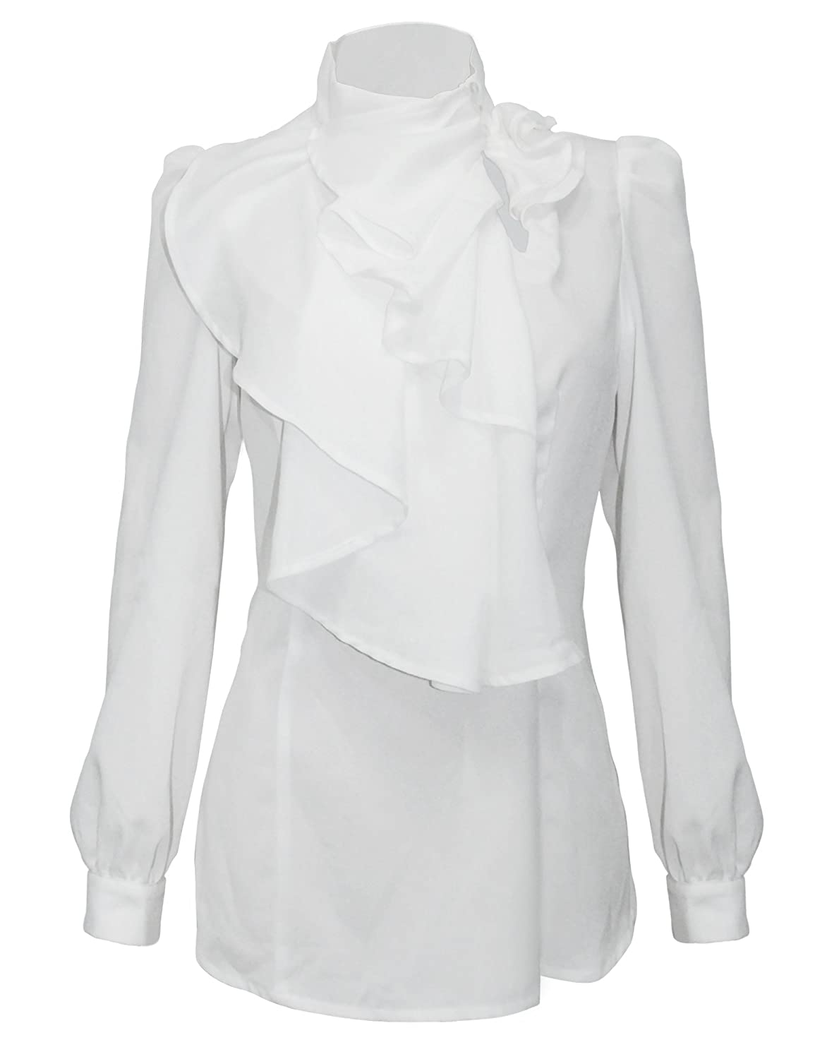 Edwardian Blouses | White & Black Lace Blouses & Sweaters Vintage Ruffle Long Sleeve Shirt Blouse Tops $24.99 AT vintagedancer.com