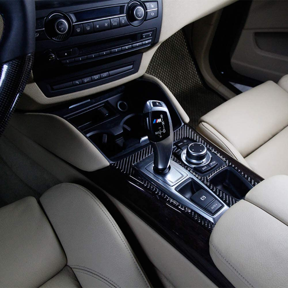 f/ür BMW X5 X6 E70 E71 2010 2011 2012 2013 LHD und RHD Gnnlor Carbon Interieur Schalthebel Rahmenaufkleber