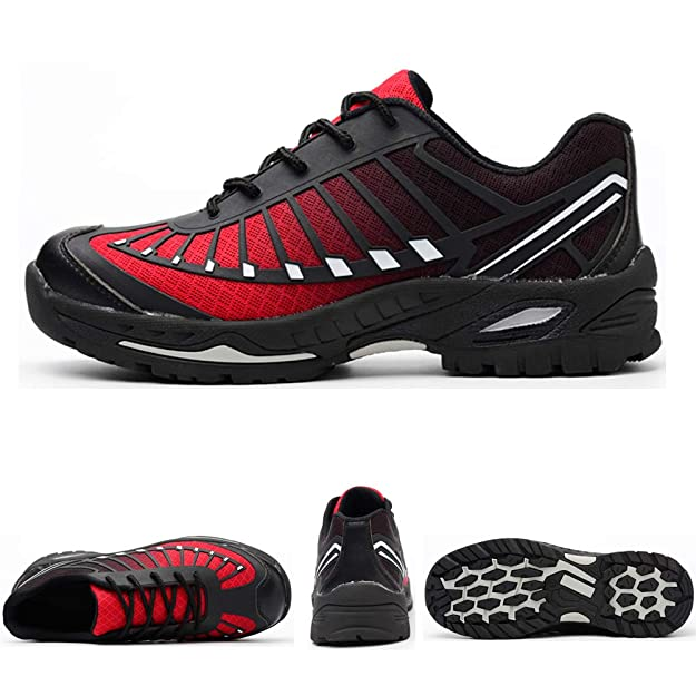 Zapatillas de Seguridad para Hombre Mujer Transpirables Calzado de Trabajo Ligeras con Punta de Acero S3 Unisex