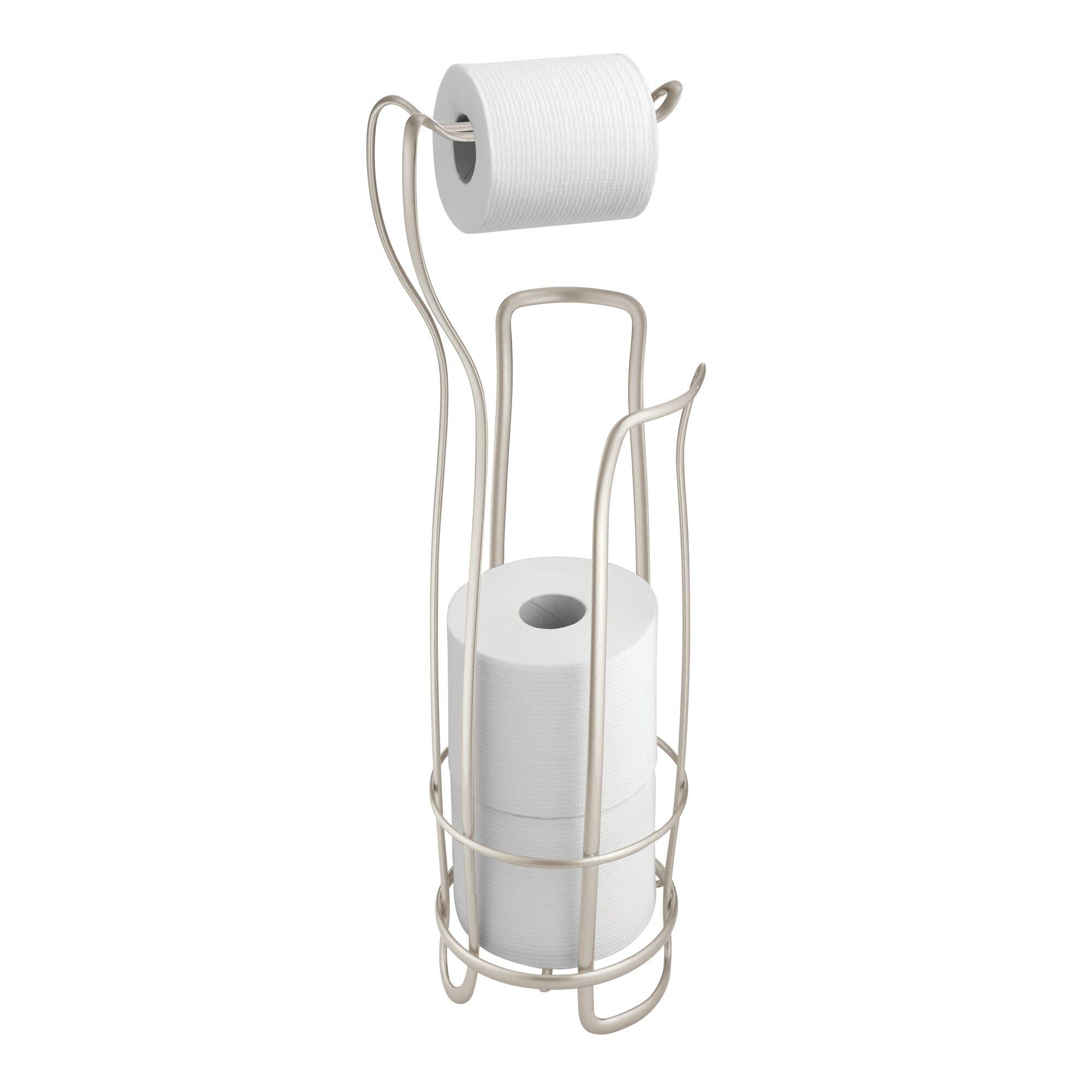 iDesign Axis Metal Free Standing Toilet Paper Tissue Holder, Roll Reserve Canister for Kid's, Guest, Master, Office Bathroom, 8'' x 6.5'' x 24.5'', Satin Silver