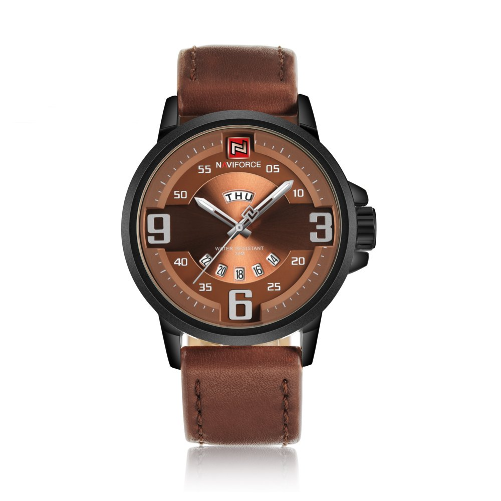 Amazon.com: NX 9086 Mens Watches Top Brand Luxury Sports Watch Men Military Leather Quartz-Watch Waterproof Male Clock Relogio Masculino (Black Brown): ...