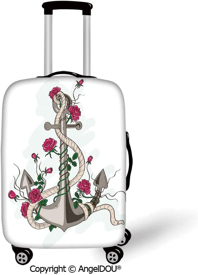 AngelDOU Printed Thicker Travel Suitcase Protective Cover Yellow and Blue Spring Flower Watercolor FlourishingBlooms Artsy Design Lime Green Royal Blue Luggage Case Travel Accessories.
