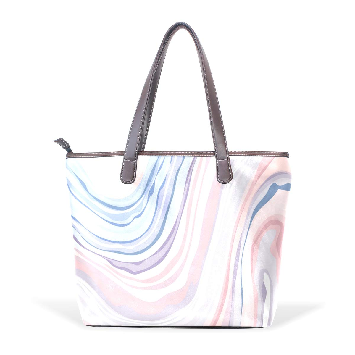 Multicolored Marble PatternWomens Vintage Leather Tote Urban Style Satchel Tote