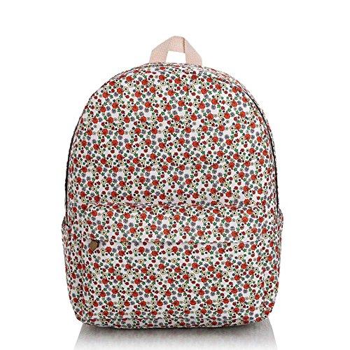 OUFLY lindo amarillo claro y crisantemo pastoral estilo lona mochila mochila de impresión de viajes Daypack impreso mochila hombro bolsa mochila escuela escuela bolsa para mujeres Damas Chicas Flores rojas