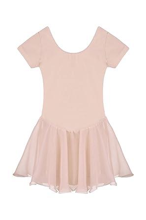 0c6a53663 Amazon.com  evokem Kids Girls O-Neck Long Sleeve Skirted Leotard ...