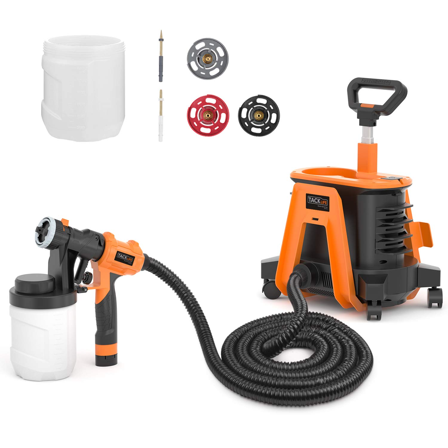 Paint Sprayer, Tacklife Patent SGP17AC 1200 W Hvlp Spray Gun, 1100ml/min 1200ml Detachable Containers, Universal Wheel Perfect for Priming, Painting, Woodworking
