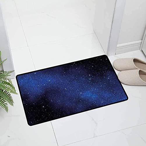 Night Sky Indoor Outdoor Entrance Door Mat Holiday Doormat Nebula Galaxy Stars Milky Way in Ombre Colors Outer Space Universe for Entry and High Traffic Areas, 47 x 31.5 inch Blue White