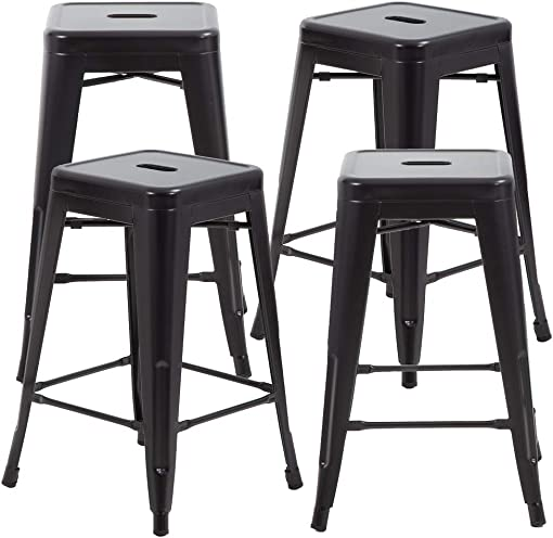 FDW Metal Bar Stools Set of 4 Counter Height Barstool 24 Inches Industrial Bar Chairs Patio Stool Stackable Backless Stool Indoor Outdoor Metal Kitchen Stools Bar Chairs