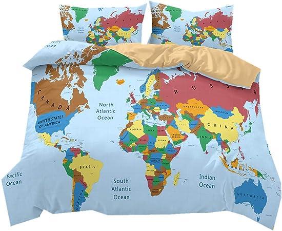 Literie Carte du Monde coloré Style Housse de Couette et taie d\'oreiller  Fibre 100% Polyester (Carte du Monde Moderne, 220 x 230 cm)
