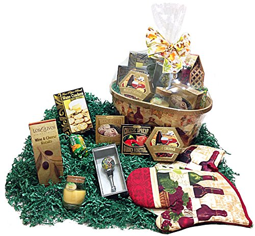 Holiday Wine & Cheese Lovers Savory Gourmet Gift Basket - Wine Bottle Stopper, Assorted Cheese Spreads, Crackers, Towel, Potholder & Candle