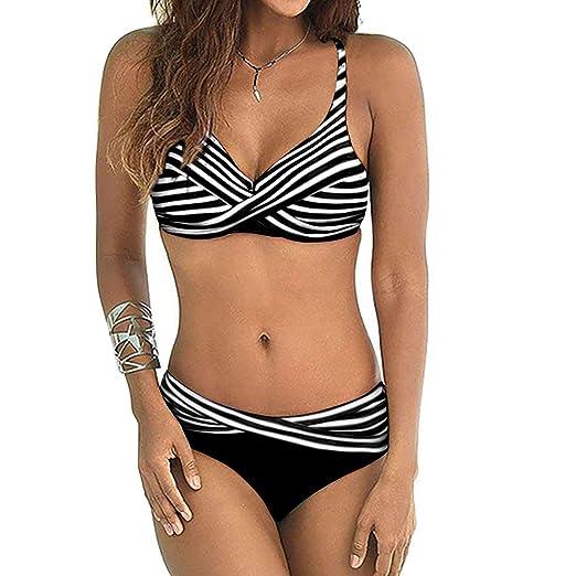 e93afae80ce CPUTAN Women's Sexy Striped Bandeau Push up Bikini Plus Size Two Piece  Swimsuit