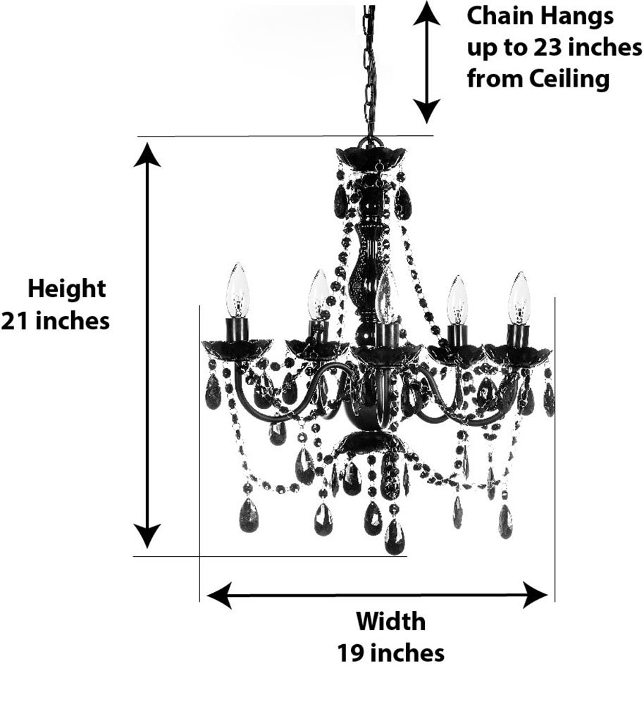 The Original Gypsy Color 5 Light Medium Black Chandelier H21 W19 Parts Diagram Metal Frame With Acrylic Crystals