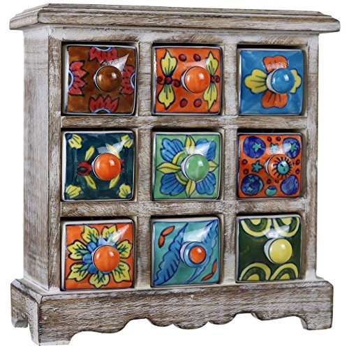 9 Drawer Ceramic Desktop Mini Chest of Drawers Jewellery Wood Wooden Cabinet 9D-CMC - Ceramic Drawer