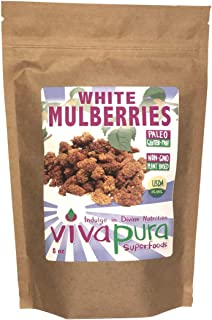 product image for White Mulberries, Raw, Organic 8 oz, Compostable Bag