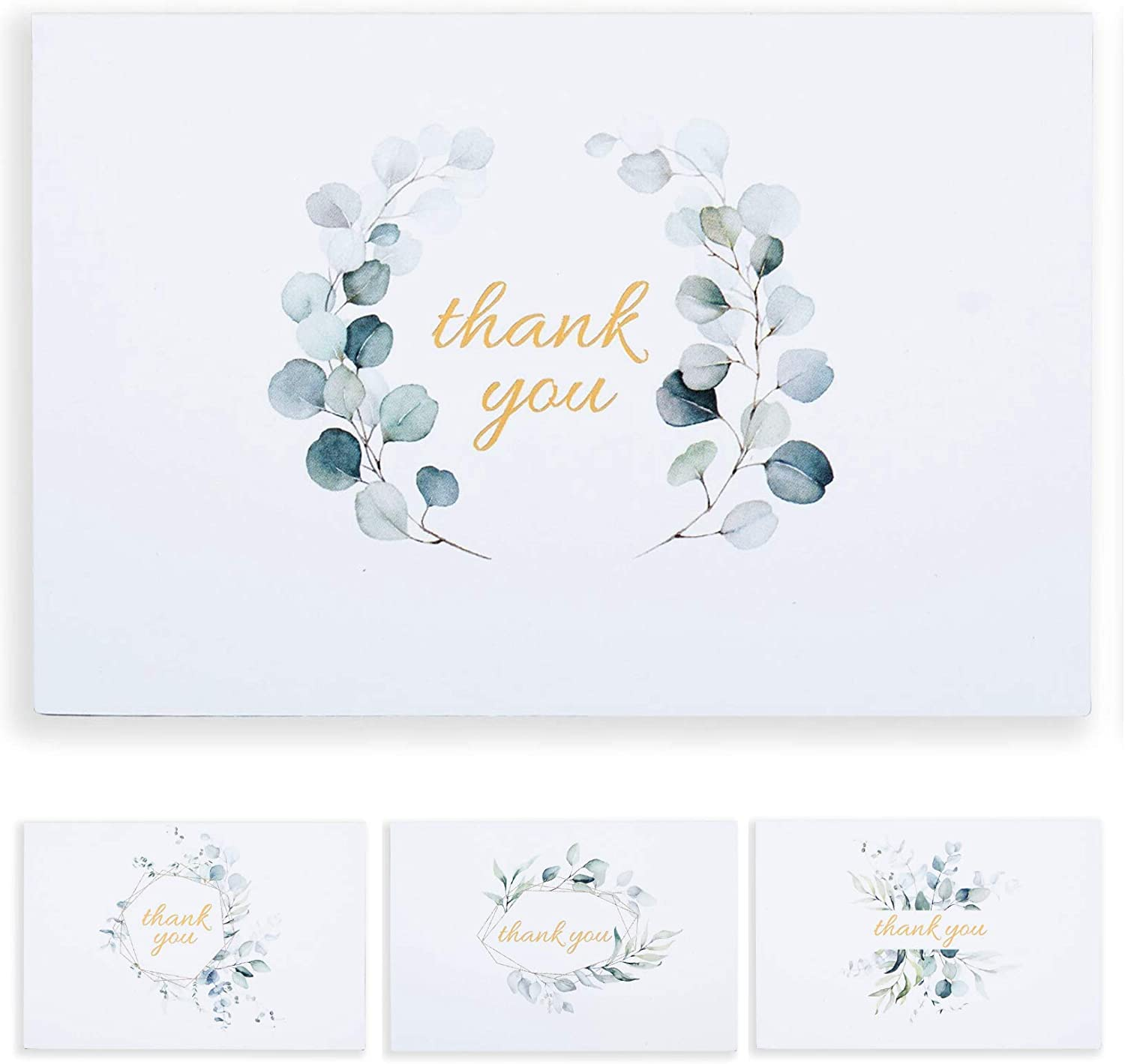Thank You Notes Blank Inside with Envelopes Set of 48 Gold Foil Eucalyptus Wedding Thank You Cards for Bridal Shower 4 x 6 Inches Graduation Small Business Baby Shower