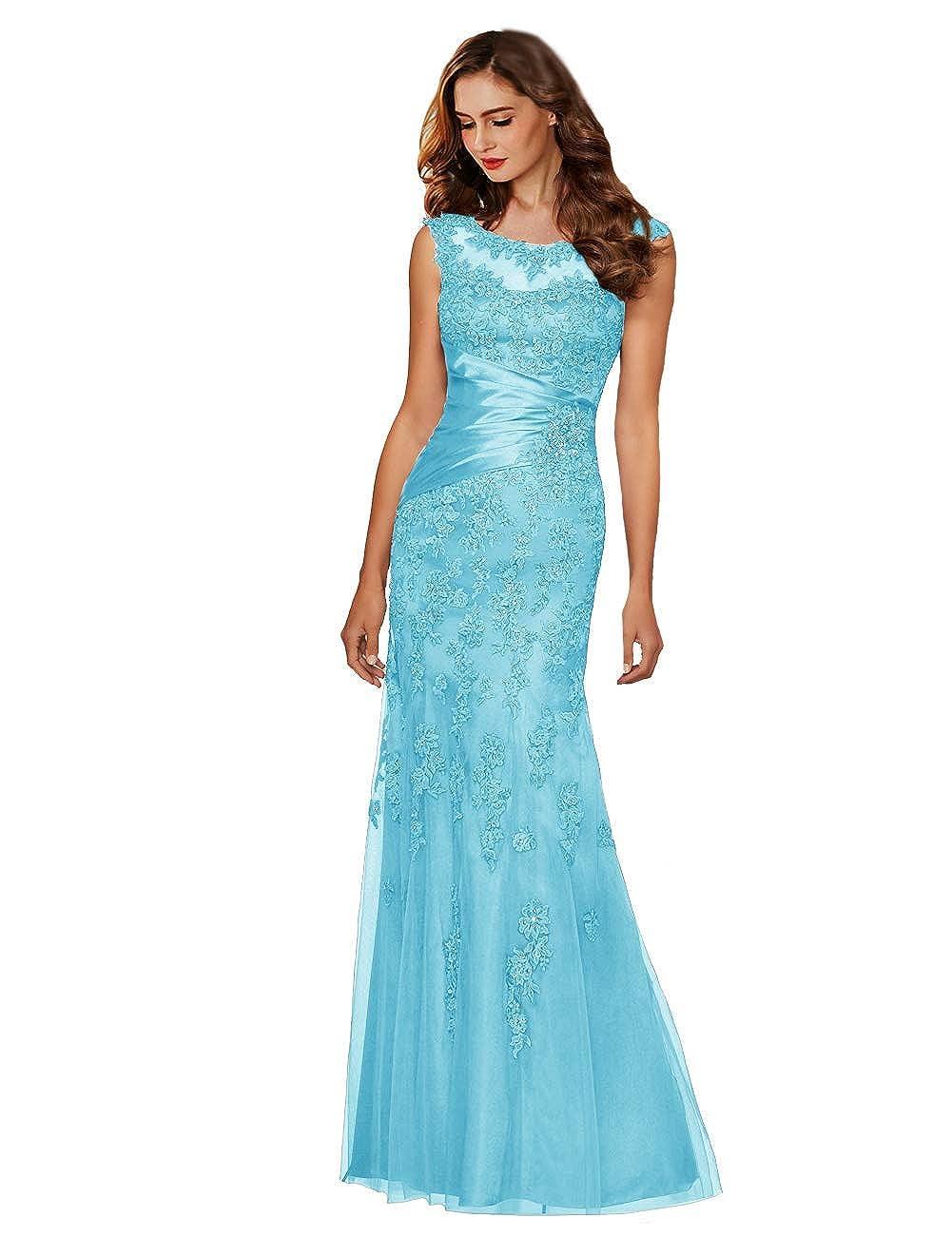 Light bluee CuteShe Women' Formal Gowns Long Evening Dresses for Weddings