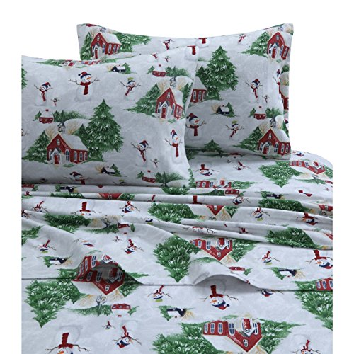 4 Piece Girls Snowman Off White Green Red Sheet King Set, Multi Color Pine Tree Cabin Holiday Printed Kids Bedding Teen Bedroom, Traditional Contemporary Frozen Christmas Winter, Cotton Flannel