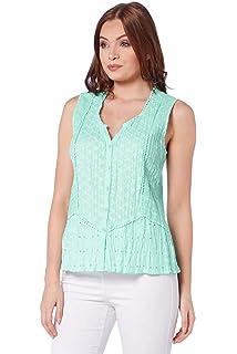 4a1401ff37aba8 Roman Originals Womens Crinkle V-Neck 100% Cotton Sleeveless Button Blouse  Top - Ladies…