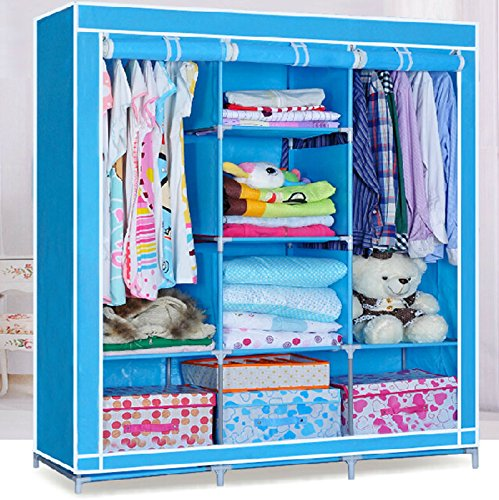 Generic Double Nonwoven Fabric Wardrobe Bedroom Clothes Storage Closet Organization Shelves by Generic