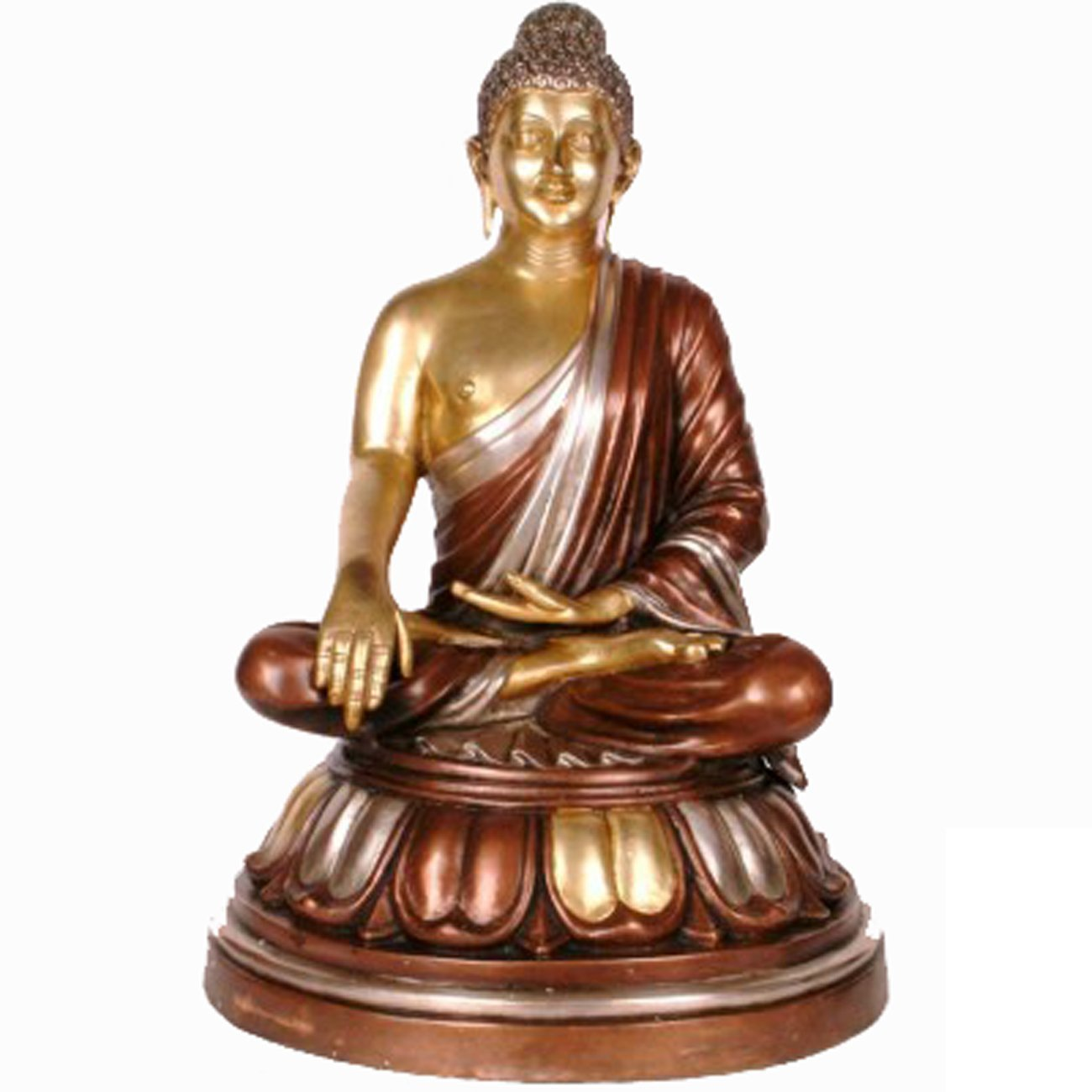 Idol Collections Thai Sitting Buddha on Base Brass Statue, Golden/Brown by Idol Collections