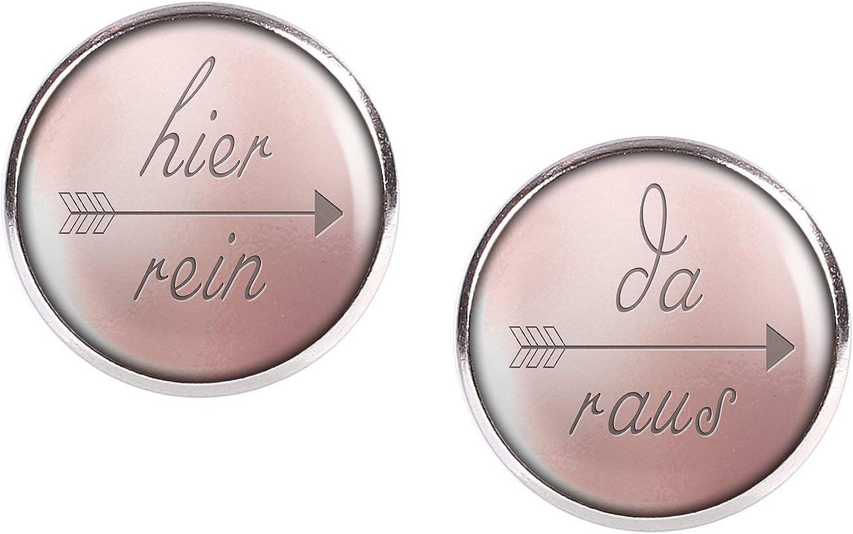 Mylery Ohrstecker Paar mit Motiv Hier rein Da raus pink blau bronze verschiedene