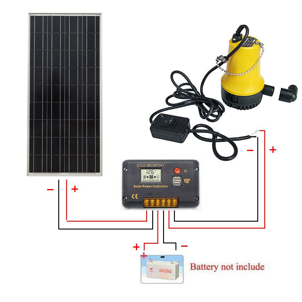 Amazon.com : ECO-WORTHY Solar Pump Kit: 100 Watts Poly Solar Panel & 12V Water Pump for Pond, Fountain, Water Feature, Hydroponics, Aquarium, ...