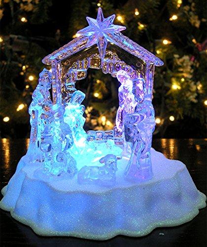 lighted nativity scene with star led manger scene. Black Bedroom Furniture Sets. Home Design Ideas