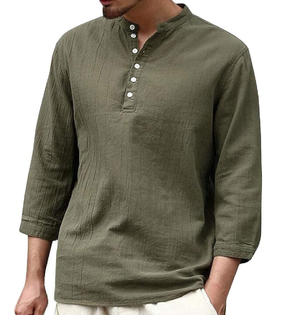 Pandapang Mens Casual V Neck Linen Round Neck Henleys Shirts Button Tops T-Shirt