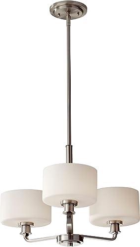 Feiss F2772 3BS Kincaid Glass Mini Chandelier Lighting, Satin Nickel, 3-Light 22 Dia x 14 H 180watts