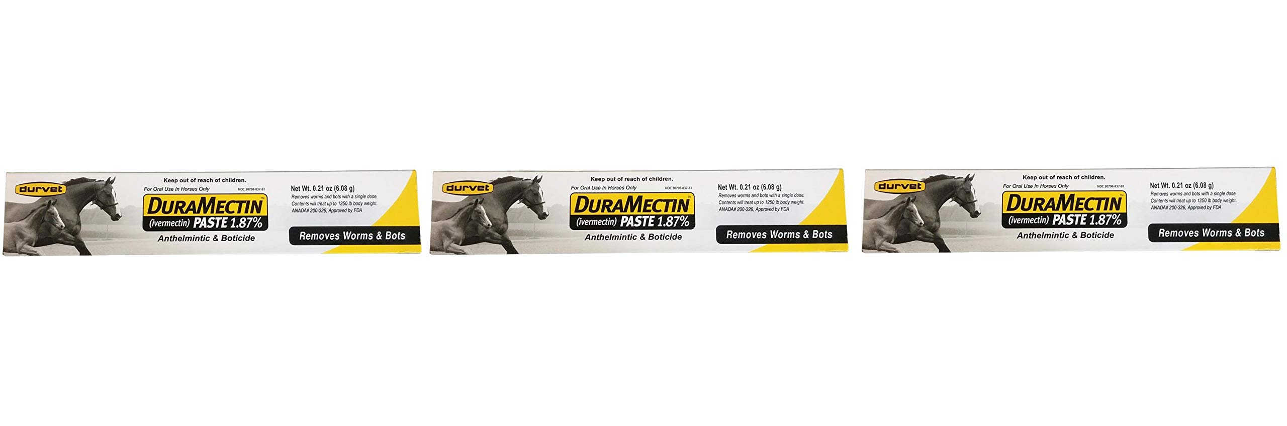 Duramectin Ivermectin Paste 1.87% for Horses, 0.21 oz (Thrее Рack) by Durvet