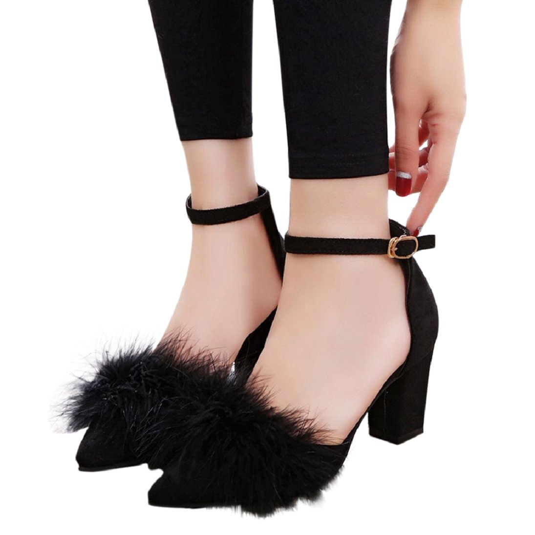 Fheavn Women Pointed Pointy Toe Plush Back Shoes Chunky Wrapped High Heel Dress Pumps Ankles Straps Shoes (US:7, Black)