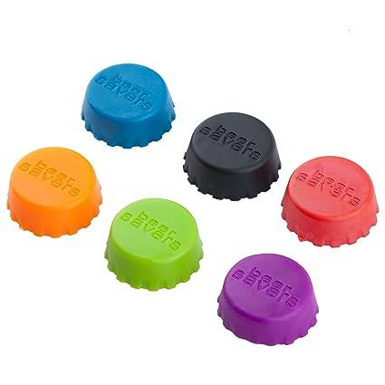 TRIXES Paquete de 6 Tapones de Botellas de Silicona Colores Surtidos - Tapones de Sellado