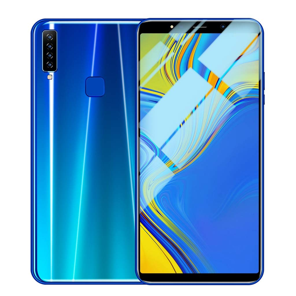 Weite Eight Cores 6.1'' Full Screen 3G Unlocked Smartphone with Finger Print Sensor, Supports Face Recognition/Android 8.1 IPS/16GB/Four HD Camera/Dual SIM Card/3800Mah Lithium-ion Battery (Blue) by Weite (Image #1)