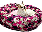 Pink French Bulldog Frenchie Round Pet Bed