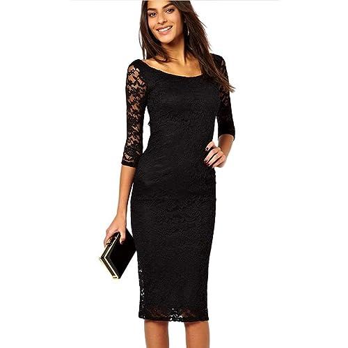 Vestito da sera Eyekepper, da donna, con pizzo nero di rivestimento, abito con gonna midi