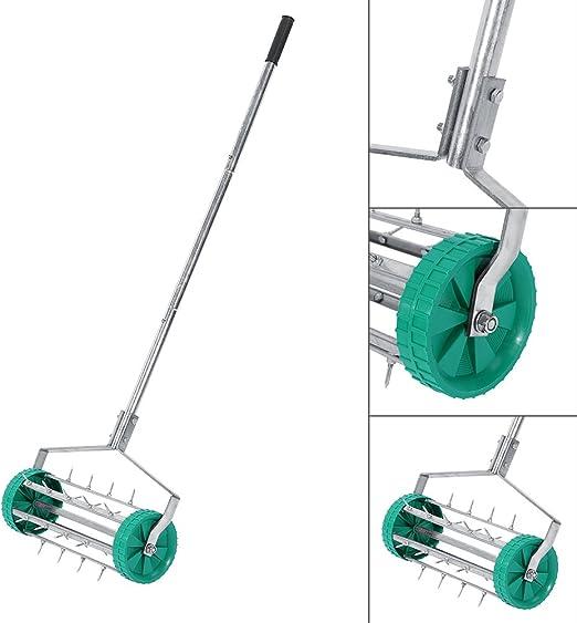 Manual Rodillo aireador de césped, hierba césped jardín resistente con clavos rodillo aireador rodillo w/mango ajustable: Amazon.es: Jardín
