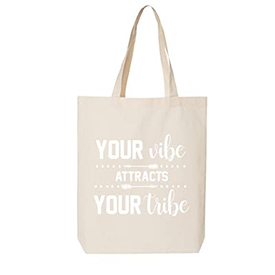 Your Vibe Attracts Your Tribe Cotton Canvas Tote Bag