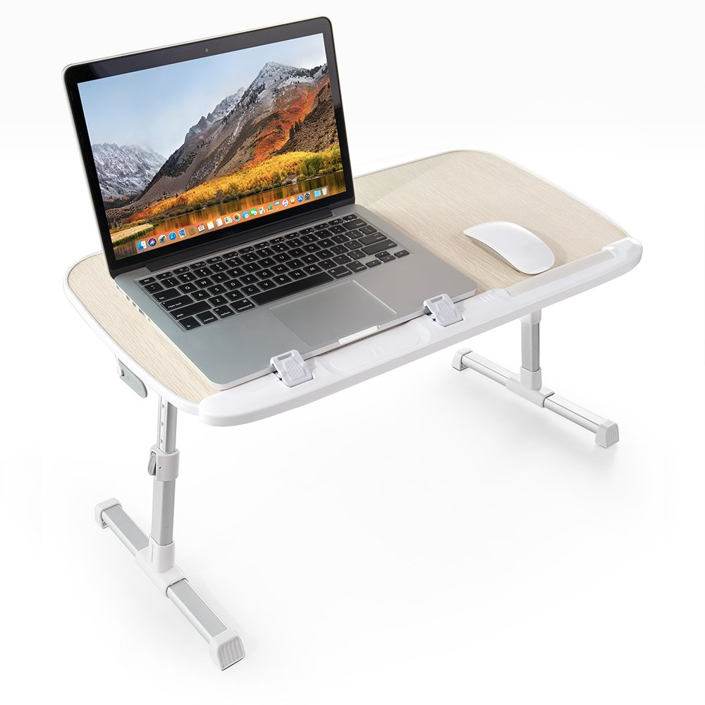 TaoTronics Foldable Laptop Table Stand, Height Adjustable Laptop Table for Bed and Sofa, Portable Lap Desk, Bed Tray Table, Office Standing Desk Riser, Computer Table, Drafting Table