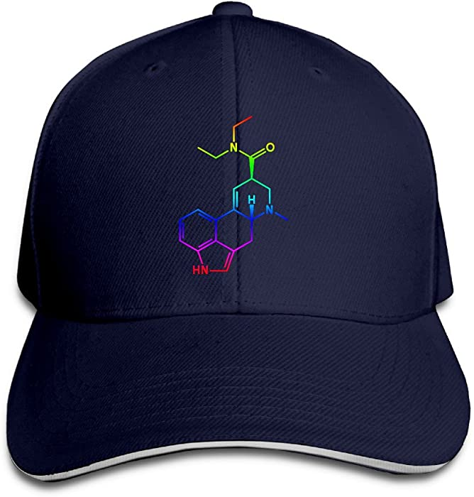 e639f799862 Amazon.com: PTCY Colorful LSD Colored Molecule Sandwich Peak Outdoor Hat  Snapback Cap Navy: Clothing