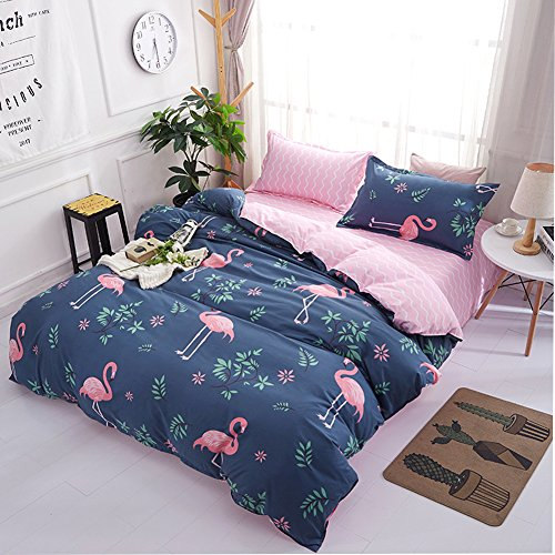 - Polyester Reversible Duvet Cover Set -Flamingo Series Bedding Sets Twin 3PC No Comforter Navy