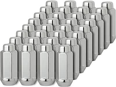 7//8 Bulge Acorn Lug Nut Set Hex Triple Chrome Plating One-Piece Mastiff 2020 Conical 60 Degree Seat 9//16-18 Thread 22mm Chrome, 32
