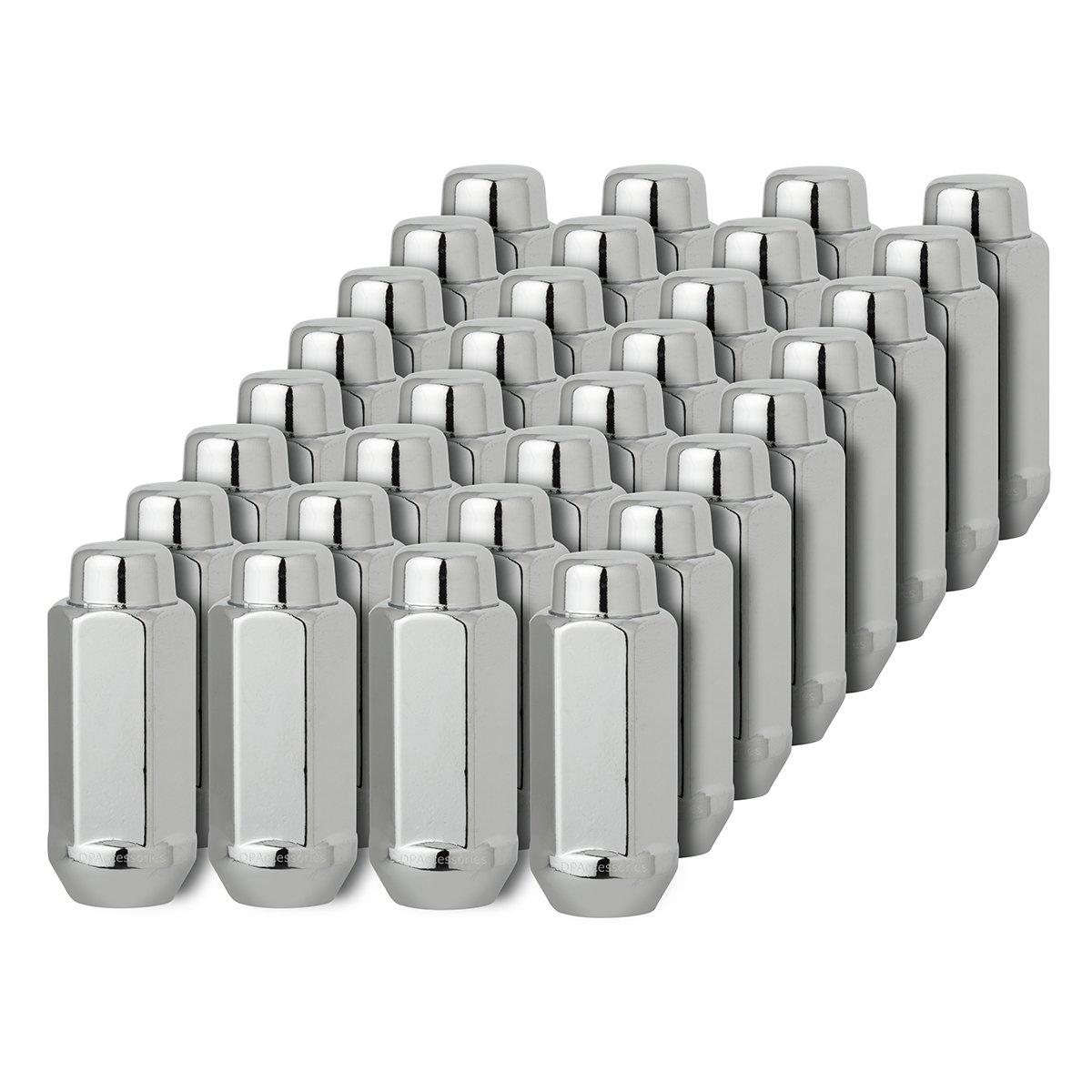 DPAccessories D3618XL-2305/32 32 Chrome 14x1.5 Closed End XXL Bulge Acorn Lug Nuts - Cone Seat - 22mm Hex Wheel Lug Nut