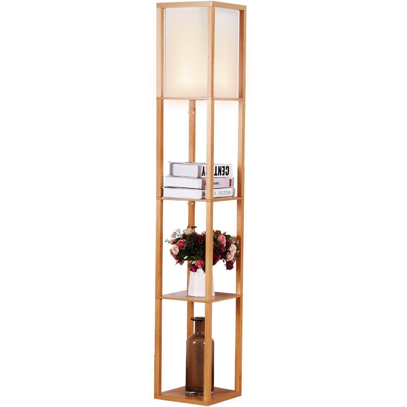 Brightech Maxwell - LED Shelf Floor Lamp - Modern Standing Light for Living Rooms & Bedrooms - Asian Wooden Frame with Open Box Display Shelves - Natural Wood
