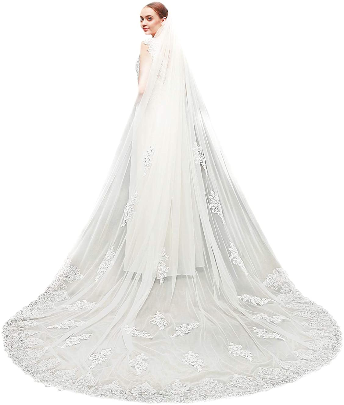 Black//White//Ivory Wedding Bridal Veil Sequins Cathedral Lace Tulle With Comb 3M